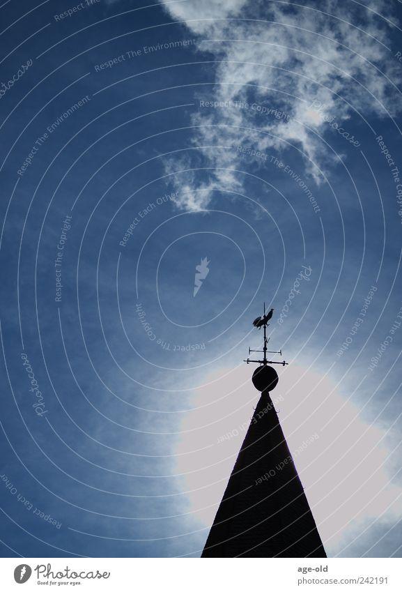 Erleuchtung Himmel Wolken Sonne Sommer Kirche Kirchturmspitze leuchten blau grau schwarz silber weiß Gefühle Stimmung Vertrauen Hoffnung Glaube Freiheit