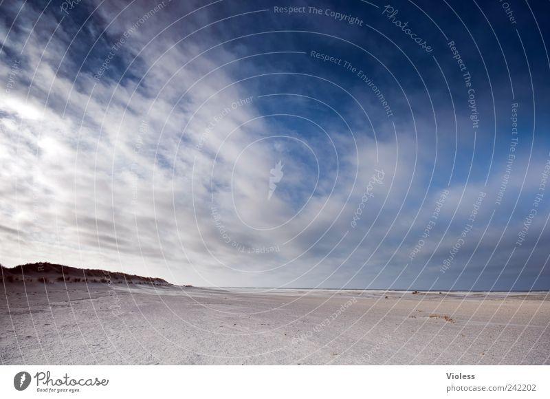 Spiekeroog | ...cloud wipers Natur Himmel blau Strand Ferien & Urlaub & Reisen Wolken Erholung Sand Landschaft Horizont weich Nordsee samtig weitläufig
