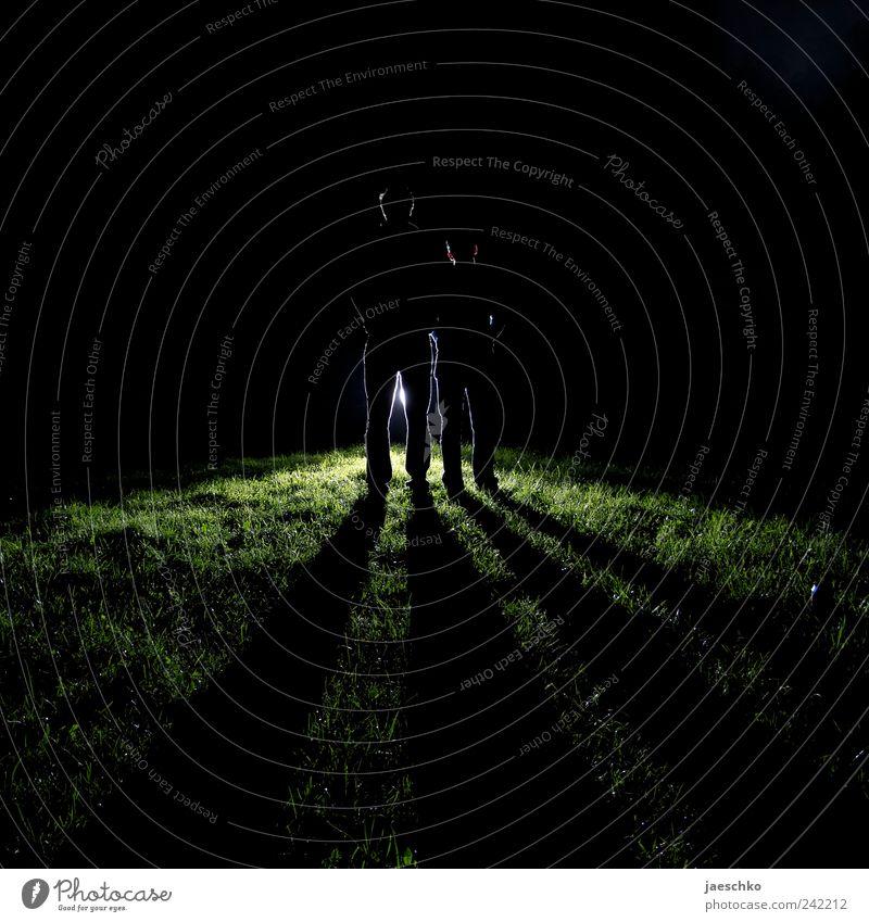 Sie kommen Mensch Mann Erwachsene dunkel Paar träumen Freundschaft Kraft Angst außergewöhnlich Coolness bedrohlich Neugier Rasen gruselig Partner