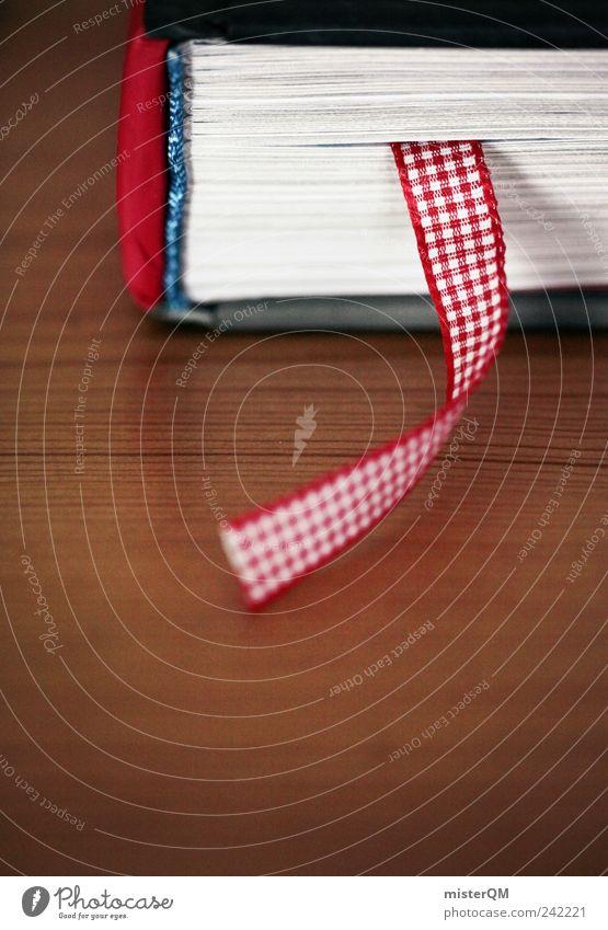 Bookmark. rot Kunst Buch Schilder & Markierungen ästhetisch Schnur Buchseite Hinweis Bibliothek Fortschritt Leser Literatur ansammeln Mensch Tiefenschärfe