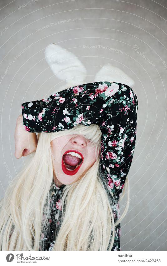 Junge gestresste Frau mit Kaninchenohren Lifestyle Design exotisch Haare & Frisuren Feste & Feiern Karneval Ostern Mensch feminin Junge Frau Jugendliche 1