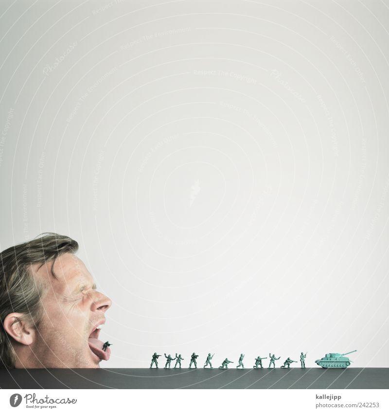 wortgefecht Mensch Mann Gesicht Auge sprechen Kopf Haare & Frisuren Menschengruppe Erwachsene maskulin Ohr schreien Reihe Krieg Wort Soldat