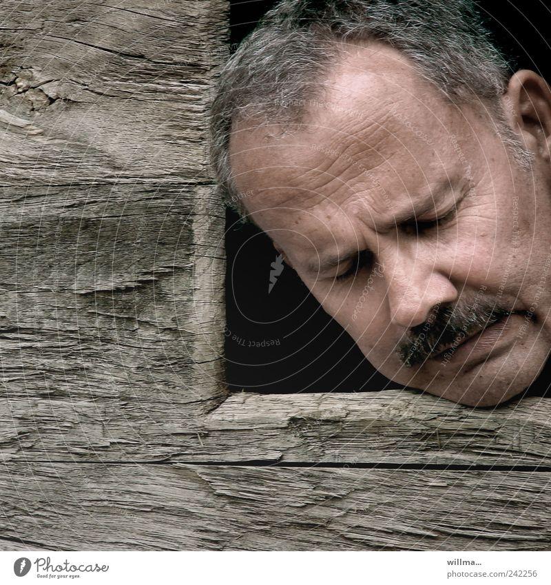 querkopf Mann Erwachsene Traurigkeit Gefühle Kopf maskulin Platzangst Schmerz Stress Verzweiflung Erschöpfung Enttäuschung Ärger Oberlippenbart Qual Öffnung