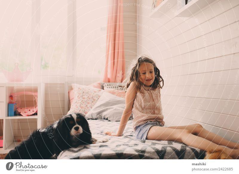 Kind Mädchen spielt mit Hund in ihrem Zimmer Lifestyle Spielen Schlafzimmer Spielzeug authentisch modern Sauberkeit Geborgenheit Kreativität Raum realistisch