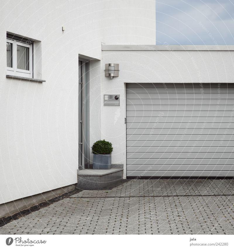 modern Himmel Topfpflanze Haus Einfamilienhaus Bauwerk Gebäude Architektur Mauer Wand Fassade Fenster Tür Garagentor blau grau weiß Farbfoto Außenaufnahme
