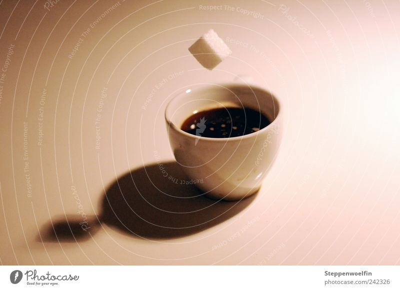 Zuckerwürfelflug Lebensmittel Getränk Kaffee trinken fallen gefroren Tasse Schweben werfen Schlag stagnierend Momentaufnahme Espresso absurd fliegend