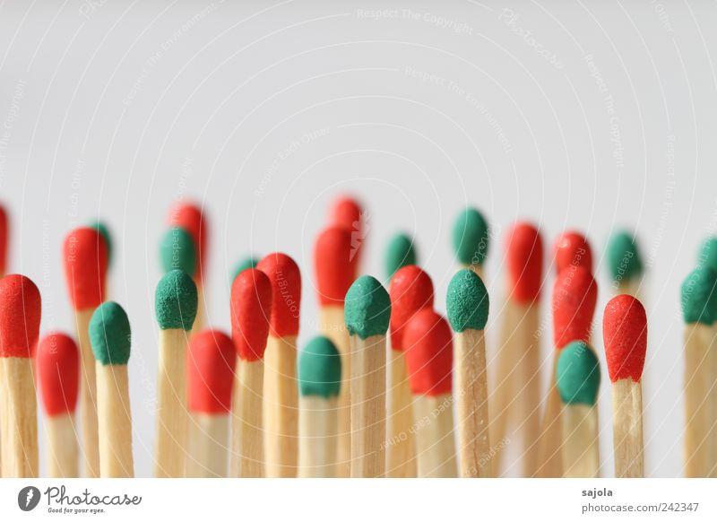 rot grün mehrheit Holz mehrere stehen Team Menschenmenge Gesellschaft (Soziologie) viele Zusammenhalt Mischung Verschiedenheit Streichholz Teamwork