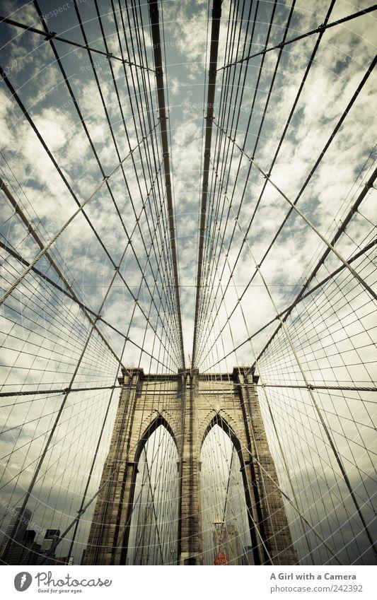 take me to Brooklyn again Ferien & Urlaub & Reisen Wand Architektur Mauer Stein Metall Seil ästhetisch Brücke authentisch außergewöhnlich USA Bauwerk Skyline Stahl