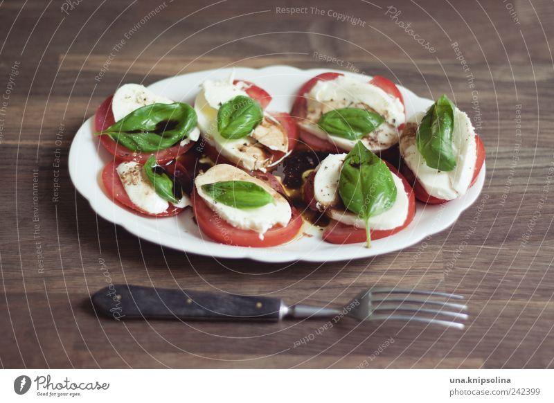 mahlzeit Lebensmittel Käse Milcherzeugnisse Gemüse Kräuter & Gewürze Öl Tomate Basilikum Mozzarella Ernährung Mittagessen Abendessen Bioprodukte