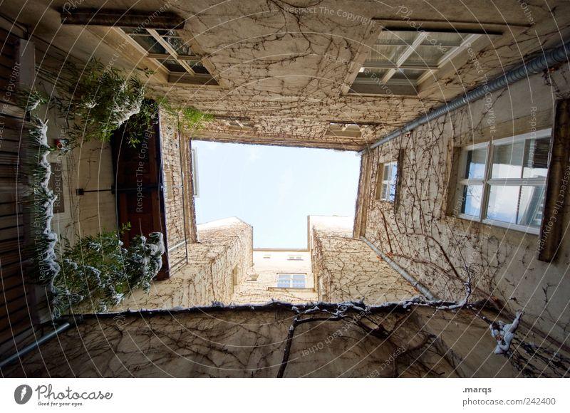 Mut zur Lücke Lifestyle Wohnung Wolkenloser Himmel Schnee Haus Gebäude Architektur Fassade Fenster groß hoch Perspektive Häusliches Leben himmelwärts