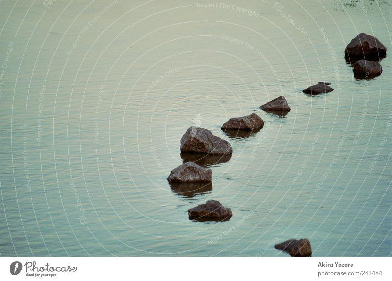 Steinkette Wasser Flussufer Schwimmen & Baden kalt nass blau grau schwarz standhaft Farbfoto Außenaufnahme Menschenleer Textfreiraum links Abend