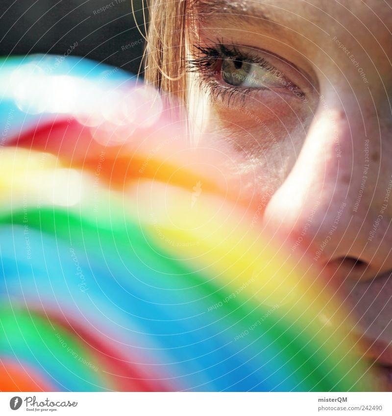 Lollipop. Kunst ästhetisch Jugendliche regenbogenfarben mehrfarbig Kreativität Glück Frau Süßwaren Auge Unschärfe Blick Verschmitzt Nase Gesicht lecker süß