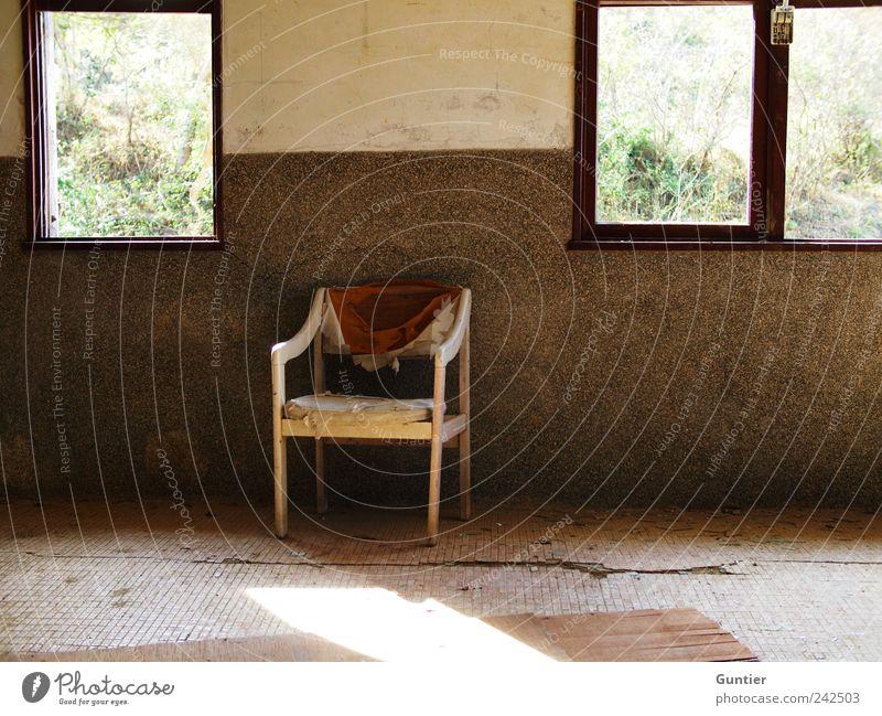 throne weiß grün rot schwarz Haus Einsamkeit Wand Fenster Gras Mauer braun dreckig Sträucher Stuhl Dorf Fliesen u. Kacheln