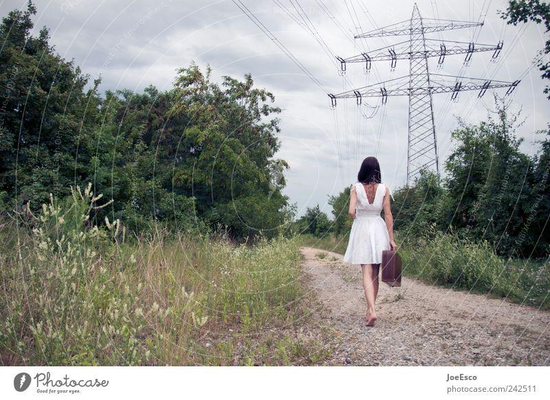 #242511 Stil Ferien & Urlaub & Reisen Ausflug Abenteuer Ferne Freiheit Sommer Frau Erwachsene Natur Landschaft Baum Kleid Koffer brünett entdecken laufen retro