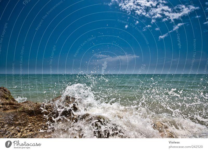 Splash V Himmel Wasser blau Sommer Ferien & Urlaub & Reisen Strand Erholung Landschaft Wellen Wassertropfen Coolness Brandung Portugal Gischt Algarve