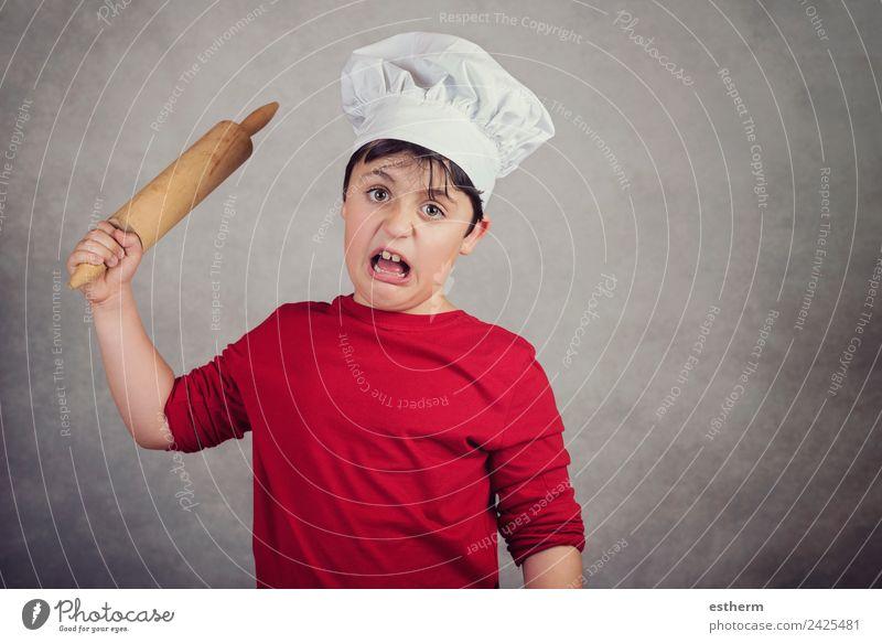 wütendes Kochkind Lebensmittel Ernährung Lifestyle Küche Arbeit & Erwerbstätigkeit Beruf Gastronomie Mensch maskulin Kind Kleinkind Junge Kindheit 1 8-13 Jahre