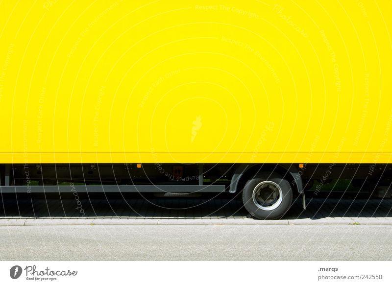 Hänger Arbeit & Erwerbstätigkeit Wirtschaft Güterverkehr & Logistik Unternehmen Verkehr Verkehrsmittel Lastwagen Anhänger fahren gelb Farbe Konkurrenz