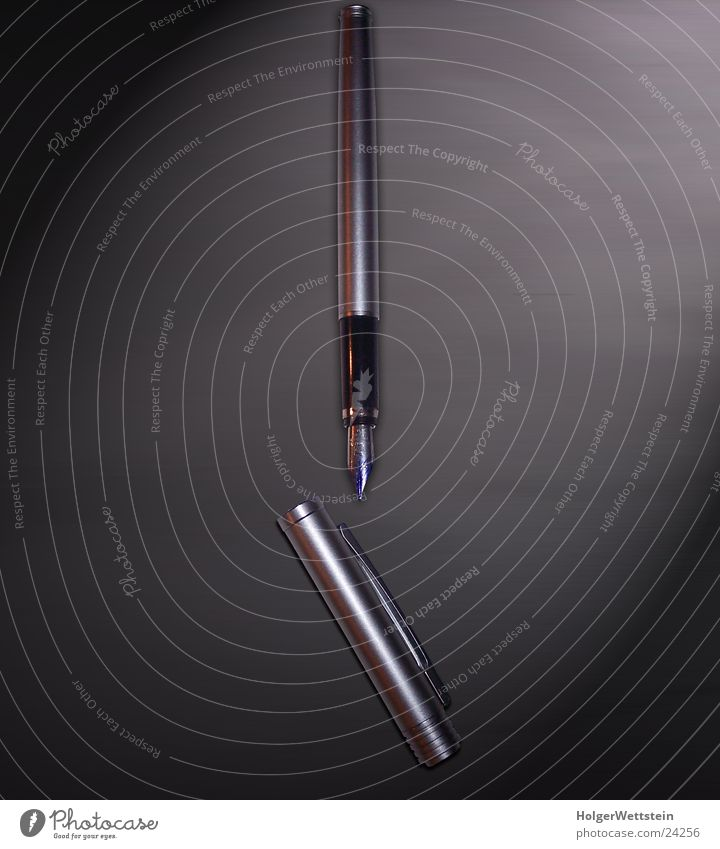 Füller schwarz Business schreiben silber Schreibstift Aluminium Chrom Tinte Füllfederhalter Schreibwaren Schreibgerät