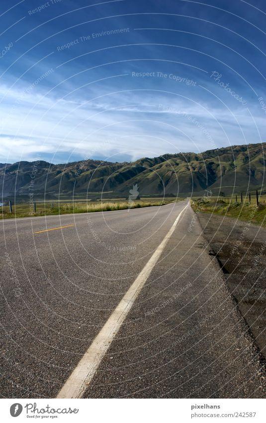 Begrenzung Natur Landschaft Erde Sand Wolken Horizont Sommer Schönes Wetter Wiese Berge u. Gebirge Kalifornien Nordamerika Menschenleer Verkehr Verkehrswege
