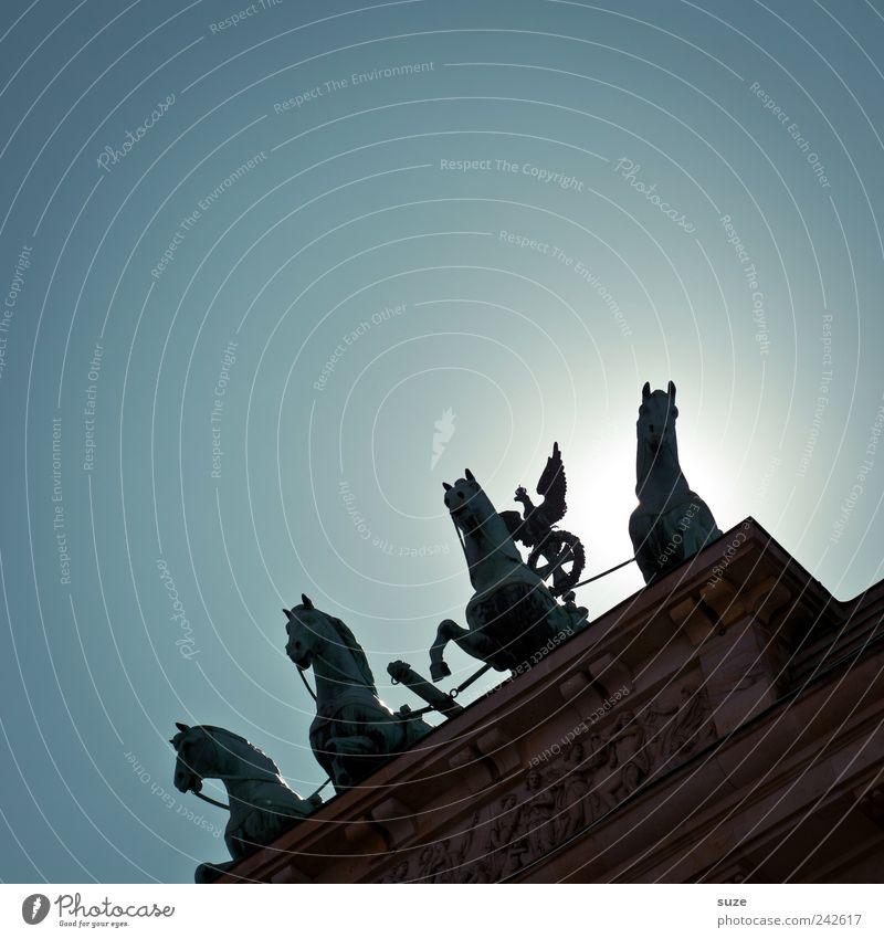 1-2-3-4 alle hier Himmel blau Sonne Berlin Kunst Deutschland Europa ästhetisch Kultur Symbole & Metaphern Pferd historisch Bauwerk Wolkenloser Himmel Denkmal Statue