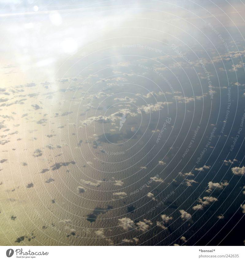 grenzenlos Ferien & Urlaub & Reisen Ferne Meer Luft Wasser Himmel Wolken Sonnenlicht Schönes Wetter Wellen Atlantik Luftverkehr im Flugzeug Bewegung fliegen