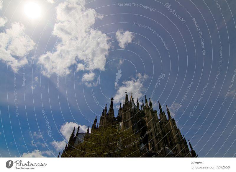 Dem Himmel so nah Himmel Wolken Architektur Beleuchtung Fassade Kirche Turm Spitze Bauwerk Schönes Wetter Köln Wahrzeichen Stadtzentrum Dom Sehenswürdigkeit Bekanntheit