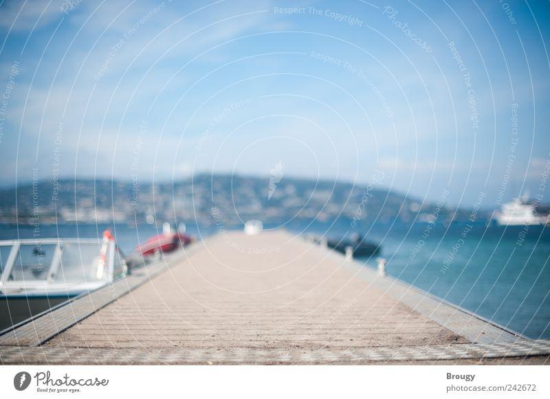 Schöner Steg im Sommer am Mittelmeer mit Booten blau weiß Ferien & Urlaub & Reisen Meer Strand Wolken Ferne Küste Glück Stil Wasserfahrzeug Schwimmen & Baden
