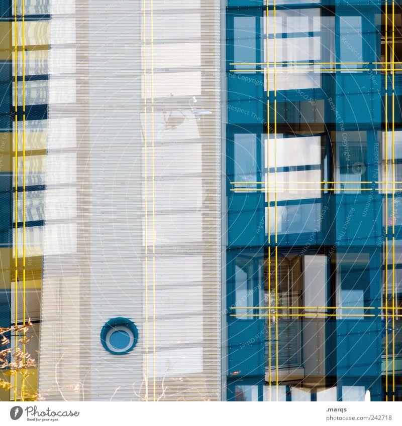 Scuttle weiß blau Haus gelb Stil Fenster Gebäude Linie Architektur Fassade Perspektive Coolness Häusliches Leben einzigartig Streifen außergewöhnlich