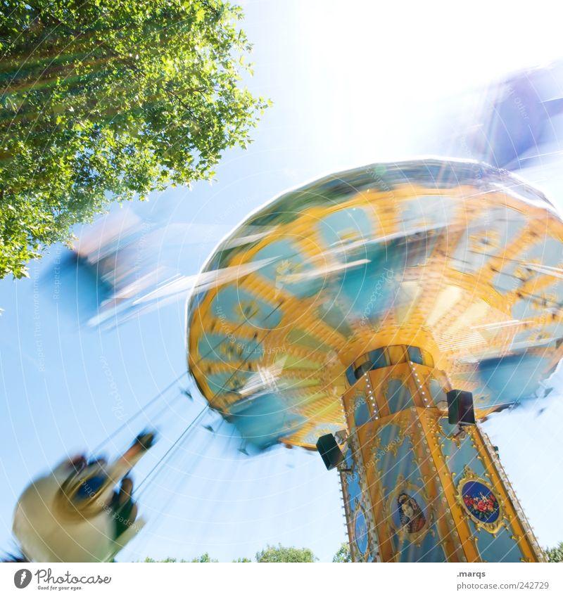 Kirmes Lifestyle Stil Freude Freizeit & Hobby Karussell Kettenkarussell drehen außergewöhnlich retro Geschwindigkeit mehrfarbig Gefühle Fröhlichkeit