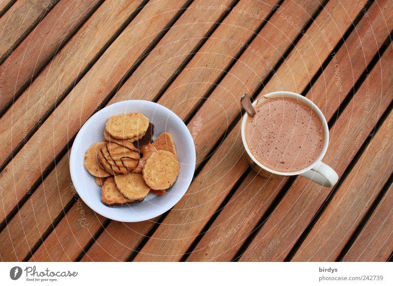 Kaffeepause Stil braun Linie ästhetisch süß einfach Pause Foodfotografie genießen Kaffee lecker Süßwaren Tasse harmonisch Schalen & Schüsseln Backwaren
