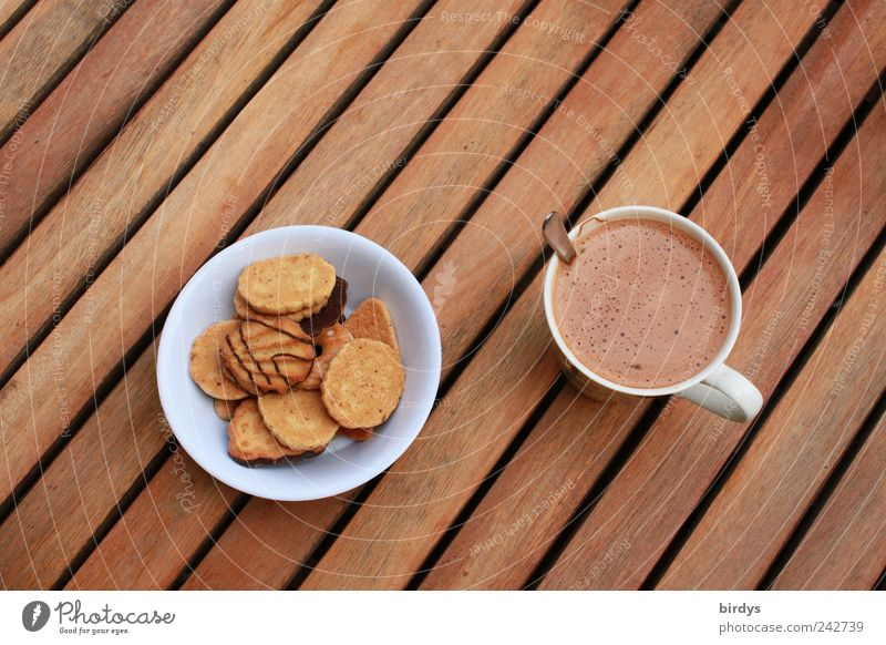 Kaffeepause Teigwaren Backwaren Süßwaren Kaffeetrinken Kakao Schalen & Schüsseln Tasse Becher Linie genießen ästhetisch lecker süß braun Pause Stil