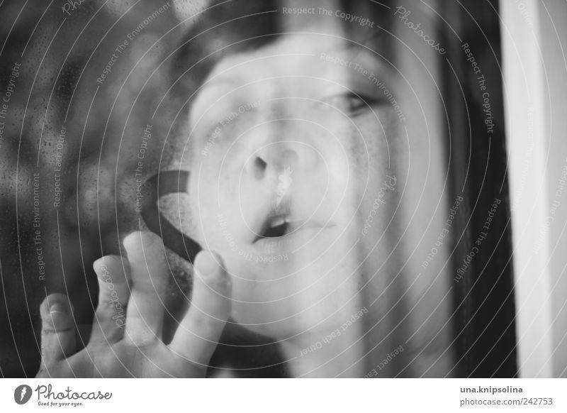 liebe feminin Junge Frau Jugendliche Erwachsene Gesicht Hand Finger 1 Mensch 18-30 Jahre Fenster Glas Zeichen Herz atmen berühren Liebe zeichnen träumen Kitsch