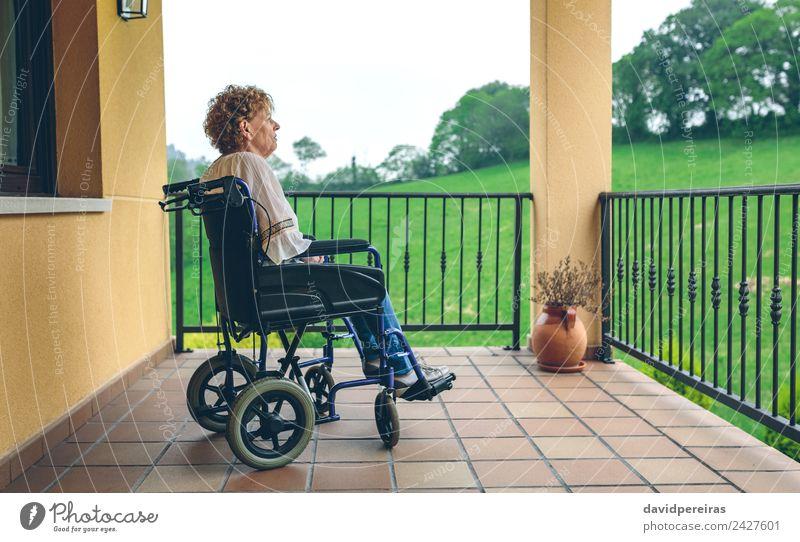 Ältere Frau im Rollstuhl Gesundheitswesen Medikament Erholung Haus Ruhestand Mensch Erwachsene Großmutter Pflanze Baum Gras Stadt alt sitzen Traurigkeit