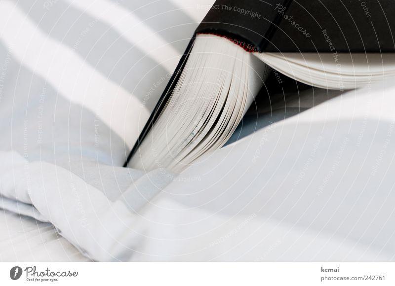 Im Bett lesen weiß schwarz Erholung grau Freizeit & Hobby Wohnung Buch liegen offen authentisch Bett Dekoration & Verzierung Bettwäsche gestreift aufgeschlagen