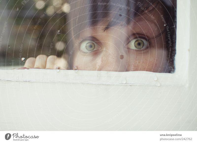verstecken Mensch Jugendliche Auge feminin Spielen Fenster Erwachsene Glas Finger Tropfen beobachten Sommersprossen Pony spionieren Spitzel
