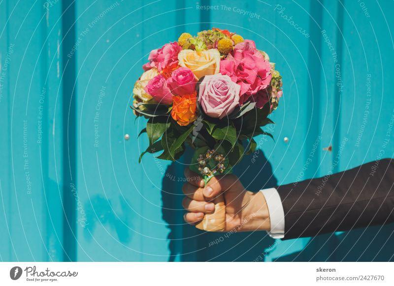 der Bräutigam hält einen Blumenstrauß der Braut an der strukturierten Wand. Junger Mann Jugendliche Körper Arme Finger 1 Mensch 18-30 Jahre Erwachsene Pflanze