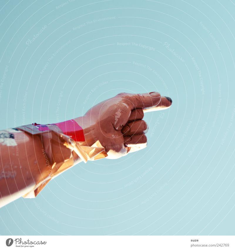 Handzeichen Himmel blau lustig Arme Finger Dekoration & Verzierung Zeichen Richtung zeigen Vorgesetzter Entscheidung Beruf Anweisung Beschluss u. Urteil