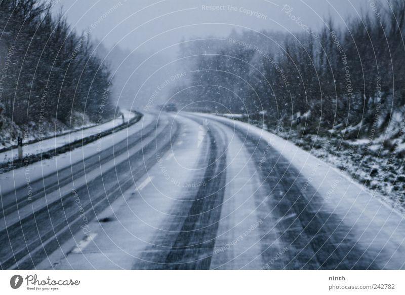 cold winter´s day snowstorm weiß blau Winter schwarz Straße kalt Schnee Schneefall PKW Eis Straßenverkehr Nebel Verkehr Frost fahren bedrohlich