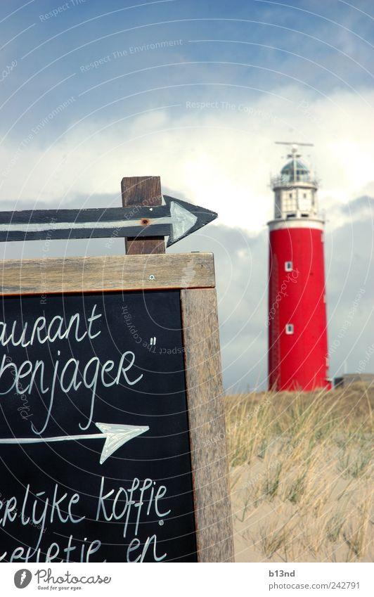 Kopje koffie bij de vuurtoren. Natur Himmel blau rot Sommer Strand schwarz Wolken Gras Sand Luft Küste Wind Wetter Umwelt Schilder & Markierungen