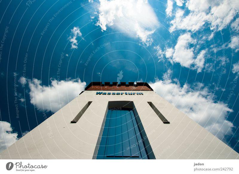 fast im himmel. Himmel blau Wolken Architektur Tür Kraft Fassade Energiewirtschaft hoch groß Hochhaus Häusliches Leben Turm Bauwerk Unendlichkeit Aussicht