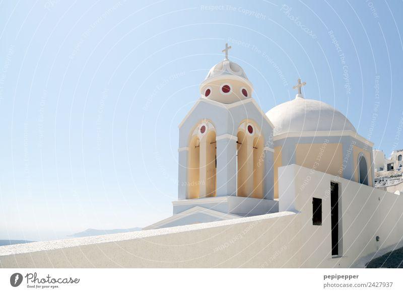 Santorini Ferien & Urlaub & Reisen blau Erholung Haus Architektur Religion & Glaube Wand Küste Gebäude Tourismus Mauer Stein Fassade Ausflug Häusliches Leben