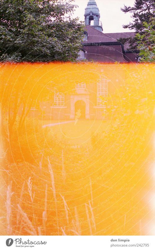 es wird immer schlimmer alt Sommer Garten Park hell orange Kirche retro außergewöhnlich Warmherzigkeit heiß analog abstrakt Altona Light leak