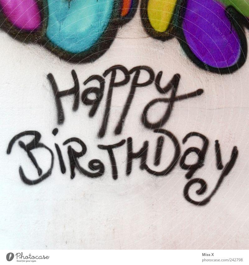 Wie fies !!! Feste & Feiern Geburtstag Mauer Wand Schriftzeichen Graffiti mehrfarbig Geburtstagsgeschenk Glückwünsche Wort Happy Birthday Farbfoto Außenaufnahme
