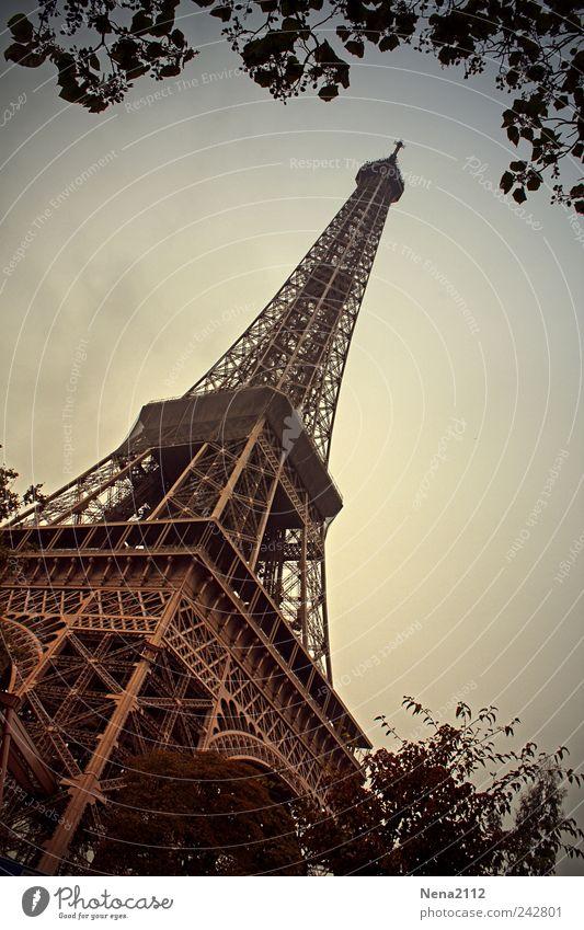 die Eisenriese Ferien & Urlaub & Reisen Sommer Architektur Metall hoch Tourismus Europa Turm Symbole & Metaphern Bauwerk Paris diagonal Sommerurlaub Frankreich