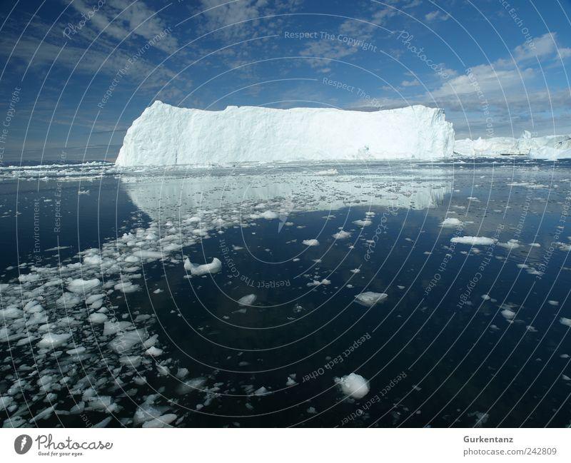 Ice Rocks Umwelt Natur Landschaft Urelemente Wasser Himmel Wolken Klima Klimawandel Schönes Wetter Fjord Meer Fernweh Einsamkeit Eisberg Polarmeer Arktis