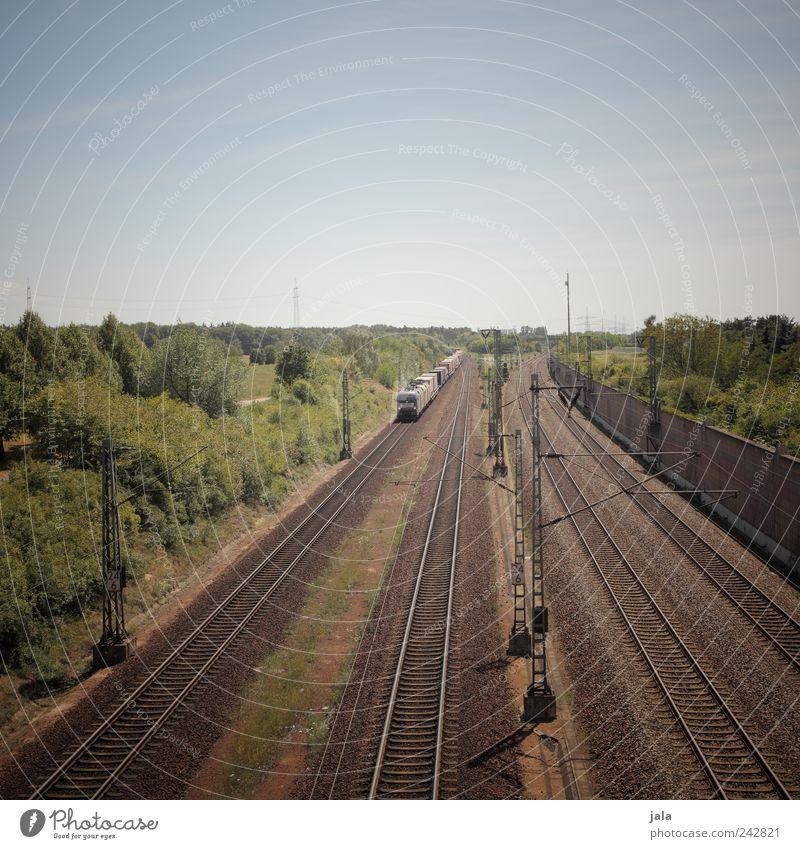 güterzug Landschaft Himmel Pflanze Baum Sträucher Grünpflanze Verkehr Verkehrsmittel Verkehrswege Güterverkehr & Logistik Schienenverkehr Güterzug Gleise