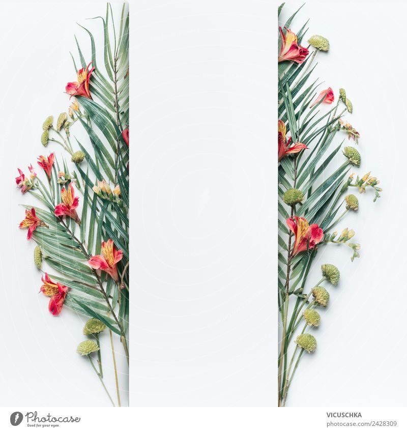 Palmenblätter und tropische Blumen Rahmen auf weiß Stil Design Sommer Natur Pflanze Blatt Blüte Dekoration & Verzierung Ornament Fahne trendy Entwurf