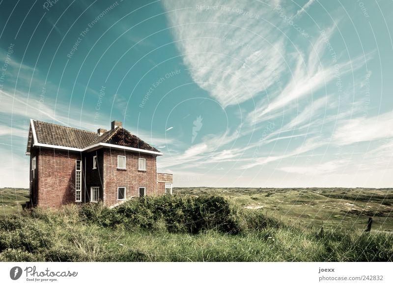 Frei schön Himmel grün blau Sommer Haus Wolken Wiese Freiheit Garten braun Horizont Unendlichkeit Schönes Wetter Grundstück Traumhaus