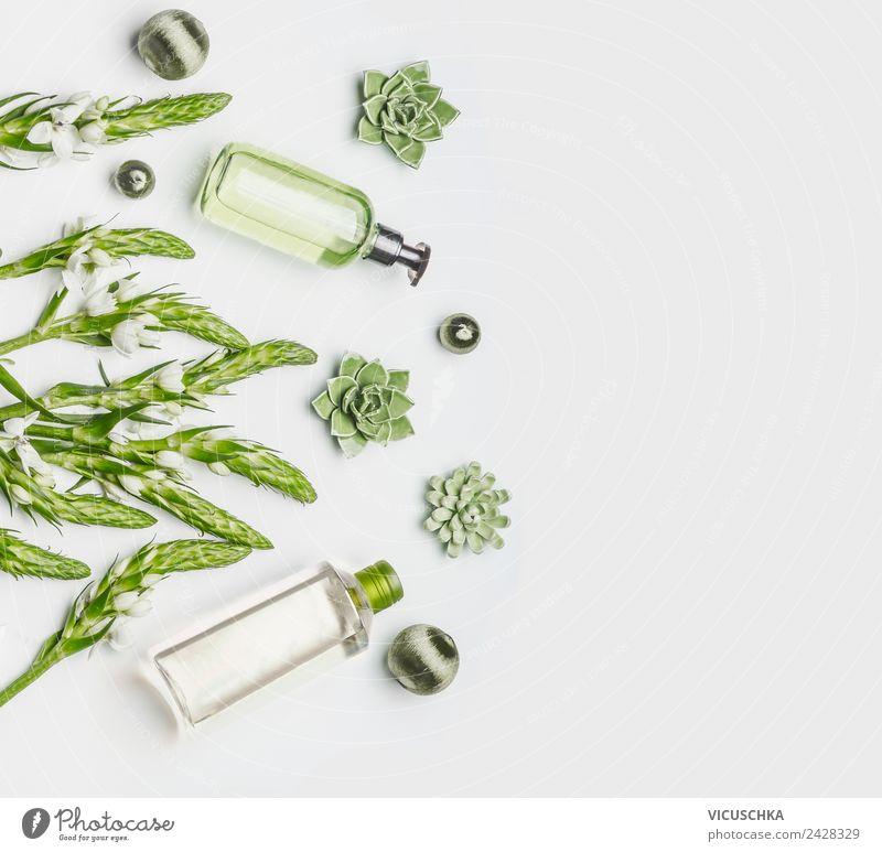 Grüne Naturkosmetik in Flaschen Pflanze schön grün weiß Blume Gesundheit Hintergrundbild Stil Design Haut Wellness Bioprodukte Körperpflege Kosmetik pflanzlich