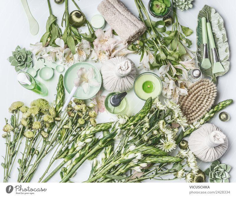 Flat lay mit grünen Spa , Wellness und Naturkosmetik Sommer Pflanze schön Blume Freude Lifestyle Leben Gesundheit Stil Design Körperpflege Duft Kosmetik